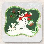 Retro 1940s Snowman Coasters