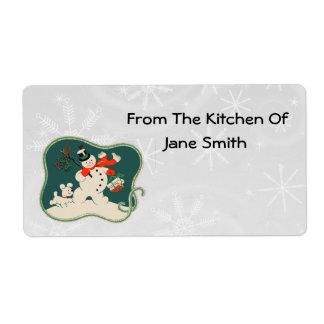 Retro 1940s Snowman Kitchen Labels