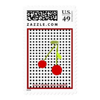 Retro 1950 Cherries 'n Checks Postage Stamp