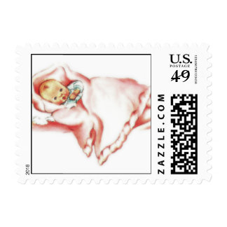 Retro 1950s Baby Girl Postage Stamp