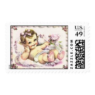 Retro 1950s Baby Postage Stamp