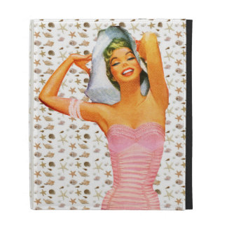Retro 1950s Beach Beauty iPad Folio Covers