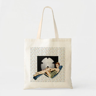 Retro 1950s Beach Pinup Tote Bags