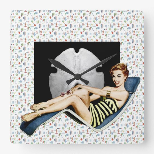 Retro 1950s Beach Pinup Square Wall Clock