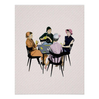Retro 1950s Card Game Poster