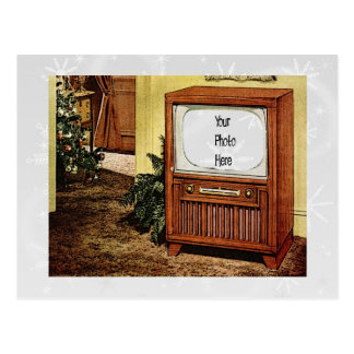 Retro 1950s Christmas TV Post Card