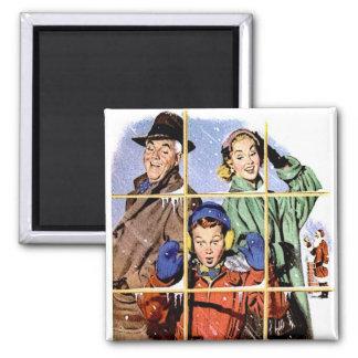 Retro 1950s Christmas Window 2 Inch Square Magnet