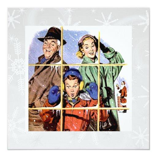 Retro 1950s Christmas Window Card