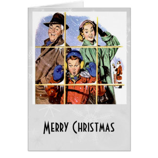Retro 1950s Christmas Window Greeting Card