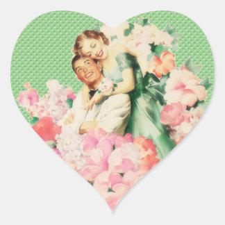 Retro 1950s Couple Heart Sticker