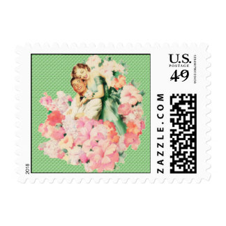 Retro 1950s Couple Postage Stamp