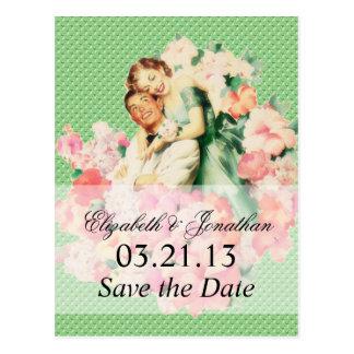 Retro 1950s Couple Save the Date Postcard