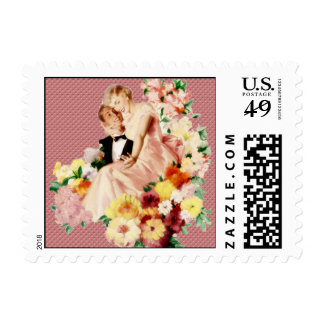 Retro 1950s Couple V2 Postage Stamp