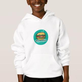 Retro 1950s Diner  Hamburger Circle Hoodie