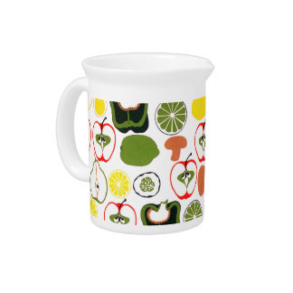 Retro 1950s Fruits and Vegetables Beverage Pitcher