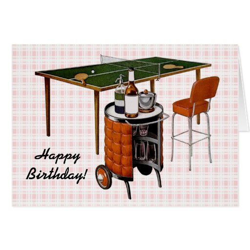 Retro 1950s Fun and Games Birthday Greeting Card