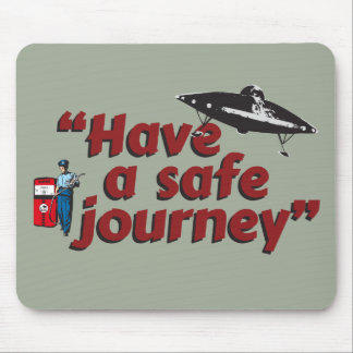 "Retro 1950s gas station attendant: ""Safe journey""… Mouse Pad"
