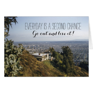 Retro 1950's House on Hill Landscape Quote Card