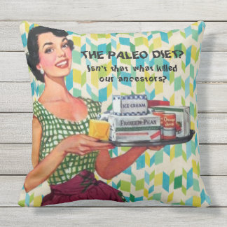 Retro 1950s Housewife Humorous Quote Illustration Outdoor Pillow