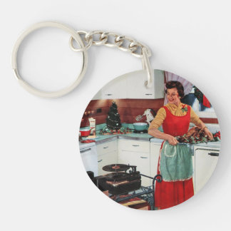 Retro 1950s housewife in kitchen with turkey keychain