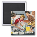 "Retro 1950s housewife ""remember the arsenic?"" 2 inch square magnet"