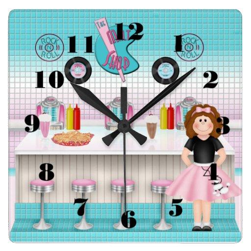 Retro 1950's Malt Shop Square Wall Clock
