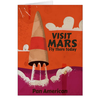 Retro 1950s Mars Vacation Poster Card