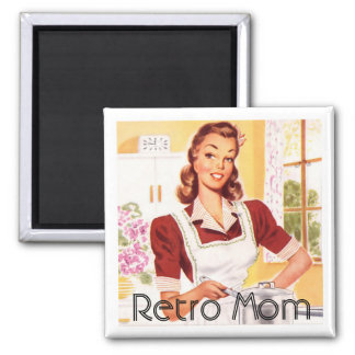 Retro 1950s Mom Cooking 2 Inch Square Magnet
