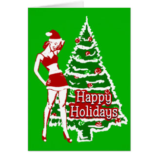 Retro 1950's Pin up girl Santa holiday card