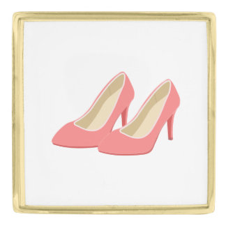 Retro 1950s Pink High Heel Pumps Gold Finish Lapel Pin