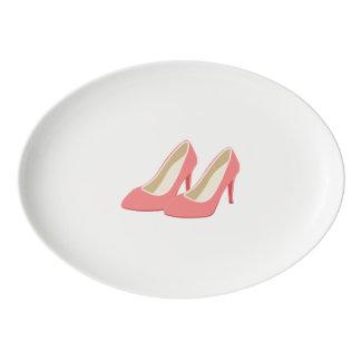 Retro 1950s Pink High Heel Pumps Porcelain Serving Platter