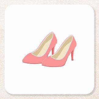 Retro 1950s Pink High Heel Pumps Square Paper Coaster