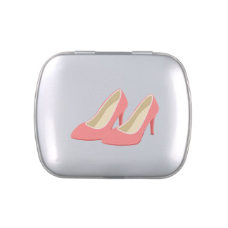 Retro 1950s Pink High Heels Jelly Belly Candy Tin