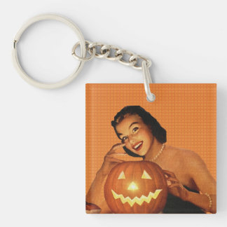 Retro 1950s Pinup Halloween Keychain