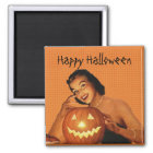 Retro 1950s Pinup Halloween Magnet
