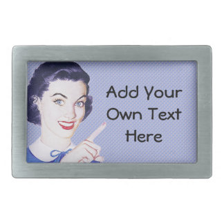 Retro 1950s Pointing Woman Belt Buckles
