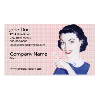 Retro 1950s Pointing Woman Business Cards