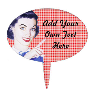 Retro 1950s Pointing Woman Cake Topper