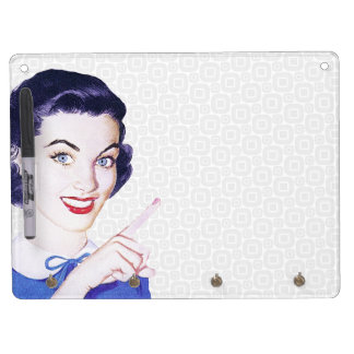 Retro 1950s Pointing Woman Dry Erase Board With Keychain Holder