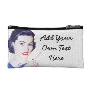Retro 1950s Pointing Woman Makeup Bag