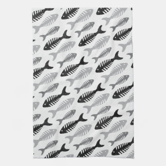 Retro 1950s Seafood Restaurant Fishbone Pattern Kitchen Towel