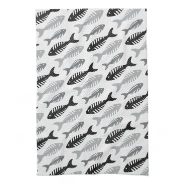 Beach Themed Retro 1950s Seafood Restaurant Fishbone Pattern Kitchen Towel
