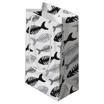 Retro 1950s Seafood Restaurant Fishbone Pattern Small Gift Bag