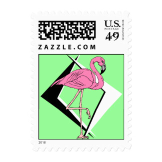 Retro 1950s Style Flamingo Boomerang signs colors Postage Stamp