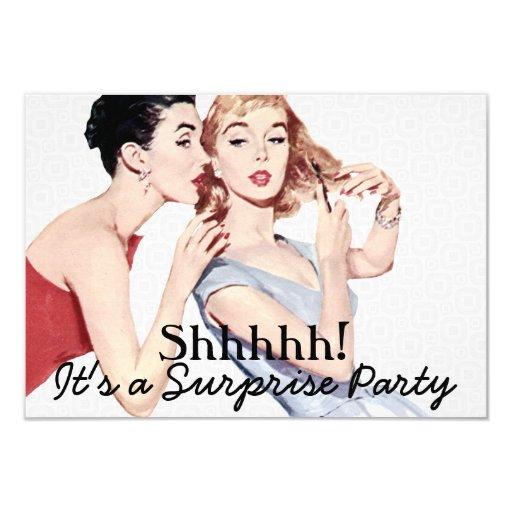 Retro 1950s Surprise Birthday Party V2 3.5x5 Paper Invitation Card