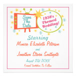 Retro 1950's Themed Save The Date Cards Custom Invitation