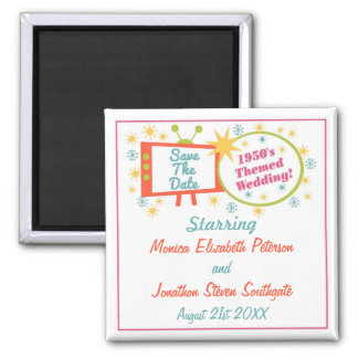 Retro 1950's Themed Save The Date 2 Inch Square Magnet
