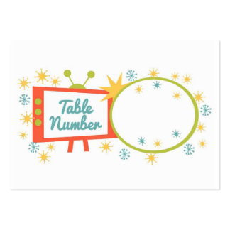 Retro 1950's Themed Table Number Cards Large Business Cards (Pack Of 100)