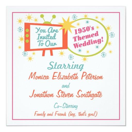 Retro 1950's Themed Wedding Invitation