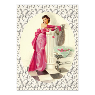 Retro 1950s Valentines Day Dinner Card
